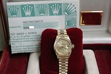 ROLEX LADIES PRESIDENT DATEJUST 69178 18K YELLOW GOLD BOX & PAPERS