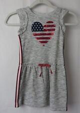 Cat & Jack Patriotic Dress Gray w Sequin Heart Stars Stripes XS 4 / 5 #6960