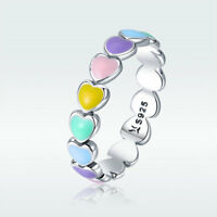 New Rainbow Heart Colorful Rings 925 Sterling Rings for Women Wedding & Party