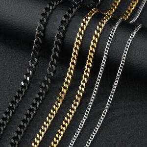 Edelstahl Panzerkette Halskette Kette Herren Damen Silber Gold Schwarz 3/5/7 mm
