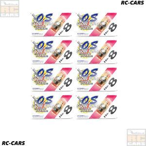8X O.S. ENGINES STANDART GLOW PLUG NO. 8 MEDIUM SHORTY 2 STROKE NITRO RC CARS