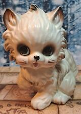 """Mint! Vintage White Persian Cat Pink Tongue, Blue Black Eyes 4-1/2"""" Tall."""
