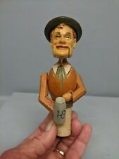Vintage Anri Carved Wood Cork Bottle Stopper Mechanical Man With Stein