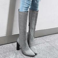 Womens Side Zip Knee High Boots Block High Heel Pointy Toe Shoes Pull On Ske15