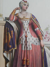 ACHILLE DEVERIA 1800-1857 COLORFUL XXL LITHOGRAPHY DAME ANGLAISE AU XIV SIECLE