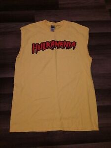 Adult Wrestling Hulk Hogan Hulkamania Sleeveless Yellow Costume T-Shirt  Medium