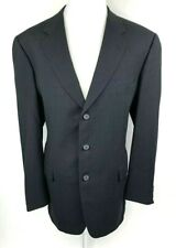 Corneliani For Saks Mens 46L Wool Blazer Jacket Sport Coat 3 Button Black Italy