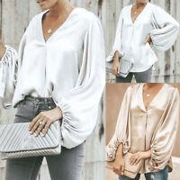 Women Summer V-Neck Lantern Sleeve Top Loose Shirt Casual Beach Blouse Plus Size