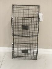 Wire Metal 2 Tier Pockets Letter Mail Wall Rack Holder Organizer With Tag
