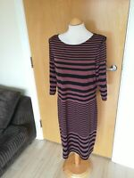 Ladies AUTOGRAPH Dress Size 16 Black Terracotta Stretch Smart Casual Day Party