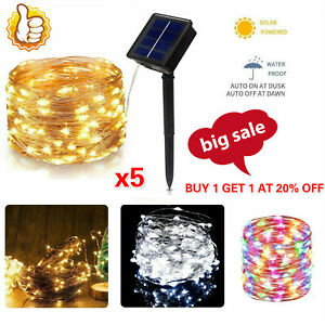 5x 10M LED Solar String Lights Waterproof Copper Wire Garden Outdoor Fairy Party