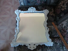 """Vintage Hollywood Regency Wall Mirror White  Paint Home Interiors 23"""" X 19"""""""