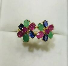 14k Solid Yellow Mixed Stone Ring W/ Natural Ruby/sapphire/Emerald 2.9GMSize 7.5