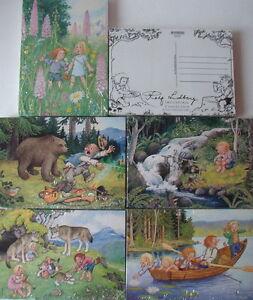 5 Karten Trolle verschiedene Motive Rolf Lidberg Schweden