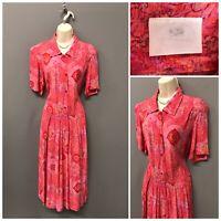 Vintage Nightingales Red Floral Crinkle Viscose Dress UK 10 EUR 38