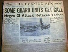 Wholesale Lot containing 5 original 1950-1953 KOREAN WAR headline newspapers