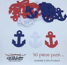 30 PAPER PUNCH PUNCHIES (not die cut) NAVY BLUE RED WHITE ANCHOR NAUTICAL THEME