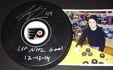 Scott Laughton Flyers Autographed Signed Puck 1st NHL Goal 12-13-14 A