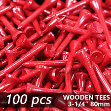 "X 100 Fire Red New Golf Tee Natural Wooded Tees 3-1/4"" 80Mm Long Length"