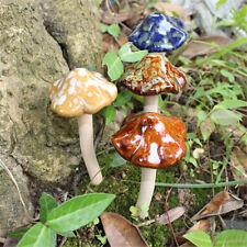 4X 12cm Ceramic Toadstools Mushroom Yard Garden Plant Pots Fairy Ornament Decor