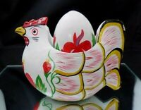 Vintage White Wooden Chicken Hen Holder with Egg Hand Painted Flowers Easter