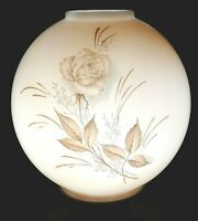 """Vintage Lamp Shade White Peach Cased GWTW Light Parlor Oil Ball Roses 8"""""""