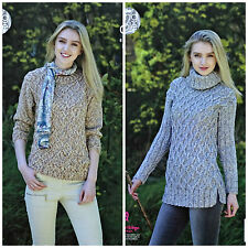 KNITTING PATTERN Ladies Polo & Round Neck Cable Jumper Aran King Cole 4963