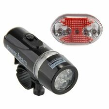 Bike Bicycle Waterproof White 5 LED Head Lamp Light + Red Rear Flashlight