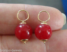 10mm Red Onyx INTERCHANGEABLE Earring Hooplet Charms Solid 14K YG 1 PAIR