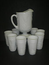 Indiana Colony Glass HARVEST Milk 9 pc Beverage Set 64 oz Pitcher Coolers Grape