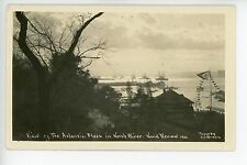 Naval Fleet Review in North River RPPC Antique Navy Photo AZO ca. 1910s