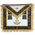 Masonic Blue Lodge Past Master Gold Handmade Embroidery Apron Navy