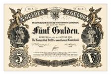 R0013 - Hessen-Homburg 5 Gulden 1855 Banknote REPRODUKTION