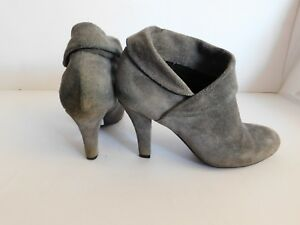 Enzo Angiolini Gray Rachey Suede Leather Ankle Boots Booties - Size 6.5