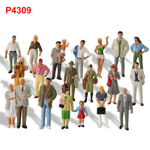 40pcs Model Trains O Scale Painted Figures 1:43 Scale Standing People P4309