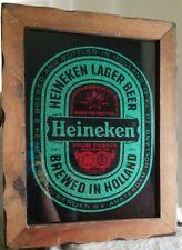 "Vintage Heineken Beer Sparkle Flake Bar Framed Mirror 15"" x 19"" Nice!"