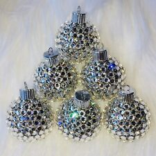 "BLING Christmas Tree Ornament handmade with Swarovski Crystals 1-3/8"" Disco Ball"