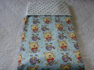 Pooh Hunny Cotton Front Blue Minky Reversible Baby Blanket Handmade