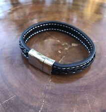 Black Genuine Leather Braided Stainless Steel Magnetic Buckle Clasp Bracelet