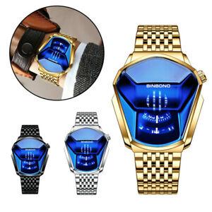 Men's Military Mirror Quartz Watch Stainless Steel Chronograph Wristwatch Gift