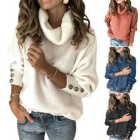 Women Warm Turtleneck Button Sweater Jumper Long Sleeve Baggy Pullover Plus Size