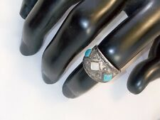 1940 Sterling Silver Navajo Tourquoise And Mother Perl Ring