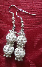 Shamballa effect bead white silver plated, hook , snowflake beads, star (262)