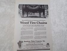 Vintage Weed Tire Chains American Chain Co. Advertisement