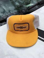 Vintage Hat Snapback Trucker Chevrolet Patch Cap Mesh Yellow