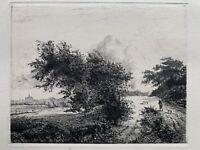 Jacques Beurdeley Gravure Eau Forte Etching Le Buisson Jacob Van Ruysdael