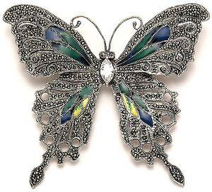 925 Sterling Silver & Marcasite Butterfly Brooch Pin w/Multi Color Enamel Wings