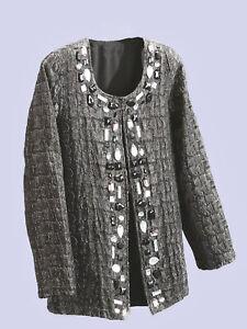 ULLA POPKEN SILVER JEWEL Embellished Lined JACKET Plus Size UK 20/22 to 40/42