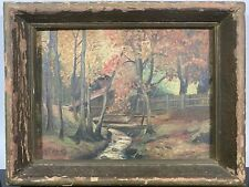 Antique W. Rohle '49 Log Cabin In The Woods Autumn Landscape Oil Painting