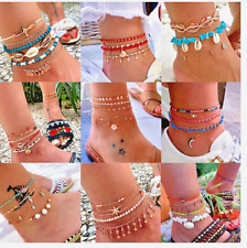 Women Anklets Layered Gold Ankle Bracelet Shell Pendant Chain Leg Accessories